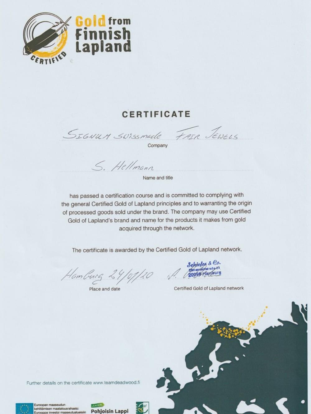 Zertifikat ökofaires Waschgold